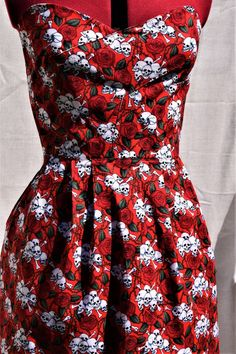 Skulls and Roses Strapless Dress, Red Gothic Dress, Rockabilly Dress, Steam Punk Dress,Halloween Dre Rose Dress, Dress Red, Rockabilly, Skull Dress, Steampunk Dress, Skulls And Roses, Halloween Dress, Gothic Dress, Single Piece