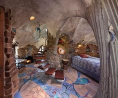 cob house interiors | Moon to Moon (cave,house,home,interior,rock,staircase) | cob building