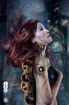 Cyborg Beauty #screw #bolt #engine #photoshop #cyborg #dreams #spider #redhair #hairstyle #compositon #nikon #photooftheday #follow4follow #retouching #photoshop #brushes