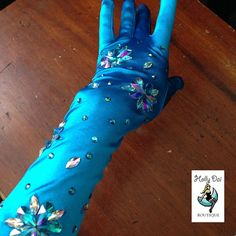 Blue rhinestoned Burlesque Wedding gloves by HollyDaiBoutique