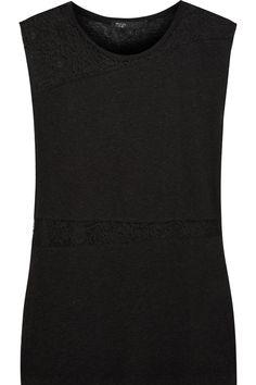 Lace-paneled slub jersey top #london #shopping #fashion #retailer #gng   Check more at https://www.guysandgirls.london/product/lace-paneled-slub-jersey-top/