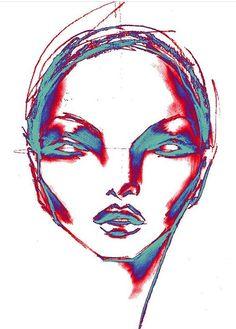 Thermo head , by Lara Wolf #illustration #face #larawolf