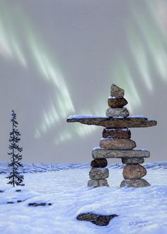 """Glen Scrimshaw """"Guiding Lights"""" Inukshuk, incorporate into headboard hanging. Rock Sculpture, Sculptures, Stone Cairns, Monuments, Polo Norte, Inuit Art, Canada Day, Native Art, Pebble Art"""