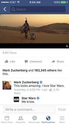 Official Star Wars Facebook just Han Solo'd Mark Zuckerberg.