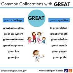 Common Collocations with Great English Tips, English Fun, American English, English Writing, English Study, English Class, English Lessons, Learn English, English Adjectives