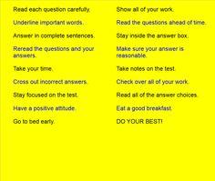 Test Taking Tips SMART Board activity