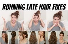 Running Late Hair Fixes   No Heat, 8 Styles!   Love these styles!!