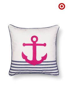 The nautical look is always in style. Do a fun, slightly edgy take on it with the Threshold embroidered anchor pillow in hot pink with blue stripes. It adds a bright, unexpected note to a sofa or armchair.