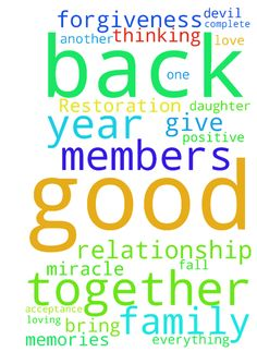 Relationship Restoration Miracle -  Father God, I pray that 2017 be the year of a miracle given by you. I pray that it be the year me and Z get back together for good. And everything between us will fall in place. Please let it be a good year between us. I rebuke any evil spirits and the devil from having any ties between me and Z. Lord, I give it all to you, and I pray.... I thank you for Z, and I thank you for him being the father of my daughter. I ask for complete forgiveness from both…