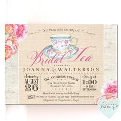Bridal Shower Invitation Tea Party Invitation by AfterFebruary
