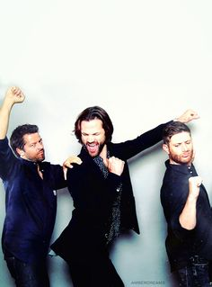 These idiots. Misha Collins, Jared Padalecki and Jensen Ackles