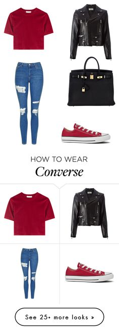 """<3"" by martina-vacca on Polyvore featuring Topshop, Hermès, Yves Saint Laurent and Converse"