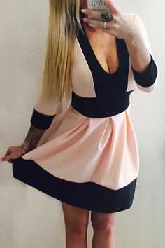Color Block Plunging Neck 3/4 Sleeve Dress: Dresses 2015 | ZAFUL
