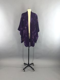 Floral Print Design, Floral Prints, Kimono Cardigan, Kimono Top, Purple Fashion, Deep Purple, 1920s, Silk, Sleeves