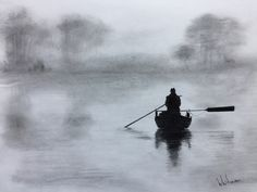 $60 Misty morning fishing. Graphite pencil drawing by Elena Whitman. Contrast silhouette of a fisherman in a row boat on a hazy river.