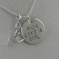 16 inch RUN Like a GIRL Sterling Silver Necklace - Running Jewelry - Running Necklace on 16 inch Sterling Silver Ball chain