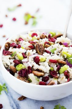 Tasty Fall Cranberry Pecan Wild Rice Salad with red onions, crunchy pecans, tart cranberries, and a sweet dressing! Basmati Rice Recipes, Rice Salad Recipes, Healthy Salad Recipes, Veggie Recipes, Cold Dishes, Rice Dishes, Healthy Cooking, Cooking Recipes, Healthy Grains