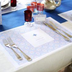 Placemats | Alhambra #jubileum #pensioenfeest #garden #party #retirement #tuinfeest #placemats #tabledeco #Beaublue