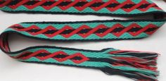 card-woven band with double-helix pattern, in double-face 3/1 broken twill with 5/2 perle cotton