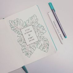Tropical monstera leaves drawing in journal