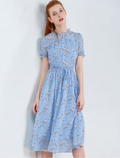Better in Blue Floral Print Chiffon Cute Casual Dress 1940s Inspired
