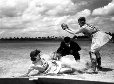 All American Girls Professional Baseball League player Marg Callaghan sliding into home plate as umpire Norris Ward watches: Opa-locka, Florida I played high school games on this field. Baseball League, Baseball Girls, Giants Baseball, Baseball Players, Baseball Park, Pro Baseball, Baseball Photos, Baseball Series, No Crying In Baseball