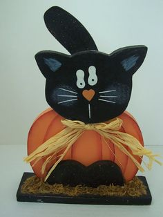 Halloween Decor Ideas Halloween Decorations Wooden Pumpkin Black Kitty Cat Votive Candle Holder #halloween #decor #ideas www.loveitsomuch.com
