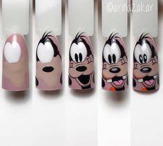 Cartoon Nail Designs, Nail Art Designs, Disney Acrylic Nails, Fingernails Painted, Nail Drawing, Nail Art For Kids, Nail Polish Crafts, Nail Art Techniques, Dot Nail Art