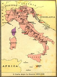 Map of Kingdom of Italy showing the areas claimed by Irredentism:in red Malta, in purple Corsica, in yellow with green points Dalmatia, Ticino and Nizzardo. Italian Unification, Giuseppe Garibaldi, Kingdom Of Italy, Learning Italian, Old Maps, Historical Maps, Corsica, Roman Empire, Vintage World Maps
