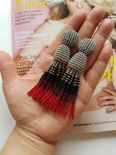 Not authentic Oscar de la Renta  Size: length =9 cm  Style: Drop/Dangle  Material: Czech seed beads  Style:on studs  true to the picture   ships from Kyrgyzstan   Please buy the items only if you agree with the rules of the handling and delivery time or ask me about express delivery