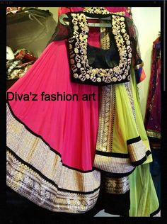 Neon,pink and black colour #lahenga with embroidery just perfect combination