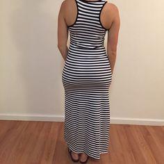 Last One Black & White Striped Maxi Dress