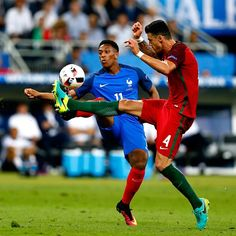 Anthony Martial (France)and Jose Fonte (Portugal) clicked during finals of Euro Cup 2016 played on 10/07/2016.