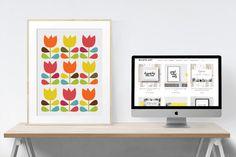 Mid Century Flower Printable Art scalable to all sizes  #midcenturyart #wallart #flowerprint