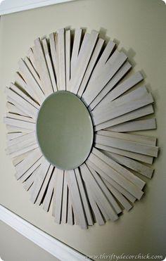 DIY site that has lots of knock offs from Anthropologie, Ballard Designs etc.!  wood shim sunburst mirror