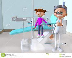 La oficina 3d del dentista que visita de la muchacha de la historieta