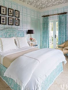 Bedroom Drapes and Headboard in Bali II Turquoise Wallpaper in Trellis background in Turquoise (Designed by Miles Redd Architectural Digest August Architectural Digest, Next Bedroom, Master Bedroom, Childs Bedroom, White Bedroom, Bedroom Drapes, Bedroom Decor, Bedroom Ideas, Curtains