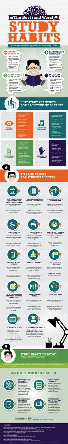 Educational infographic & Data Best & the Worst Study Habits for all Types of Learners - Campusbooks . Image Description Best & the Worst Study Student Success, Student Life, Success School, Academic Success, College Success, Types Of Learners, Learning Styles, Study Habits, Study Skills