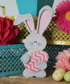 Adorable wooden bunny Easter craft.