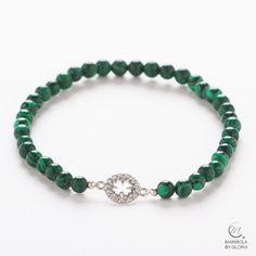 Pulsera de malaquita con motivo de plata 925. Longitud aproximada 16cm. Malaquite bracelet with 925 silver motif. Approximate length: 16cm