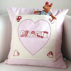 personalised heart pocket cushion by milly and pip. Ideal new baby gift. Copyright © milly and pip