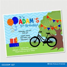 Bike Birthday Invitation or Thank You Card. by PinkPickleParties, $10.00 Birthday Ideas, Birthday Parties, Personalized Thank You Cards, Birthday Party Invitations, Party Ideas, Bike, Handmade Gifts, Etsy, Invitation Cards