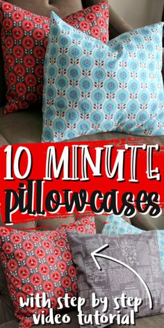 10 minute pillow case sewing tutorial super easy and great for using for holiday decor. via @raegun