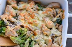 Cremiger Low Carb Hähnchen Geschnetzeltes Auflauf mit Pilzen