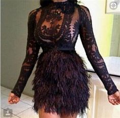 Cheap feather cocktail dress, Buy Quality cocktail dresses directly from China cocktail feather dresses Suppliers: 2017 Sexy African Straight Feather Cocktail Dresses Sheer Full Sleeves Lace Formal Party Gowns Junior High Graduation Dress Fur Skirt, Fringe Skirt, Dress Skirt, Skirt Set, Prom Dress, Bodycon Dress, Gown Dress, Homecoming Dresses, Dress Shoes