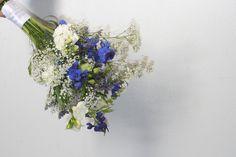 """""""hues of blue"""" bridal bouquet - baby's breath, delphinium, lisanthus, stock, limonium"""