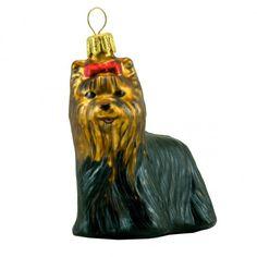 Glass ornament - a York dog. York Dog, Bullfinch, Glass Christmas Ornaments, Polish, The Incredibles, Hand Painted, Holiday Decor, Dogs, Painting