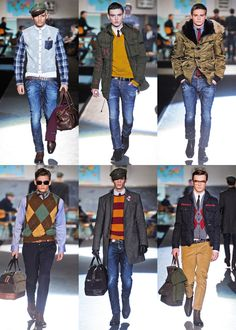 Dsquared2 Fall 2012 Menswear collection  Love the top middle sweater, the bottom middle sweater and the coat on the bottom right!
