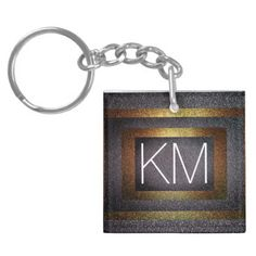 Faux Dark Gold & Silver Glitter Initialed Monogram Keychain - white gifts elegant diy gift ideas