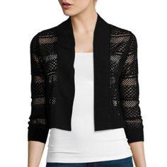 jcp | Ronni Nicole 3/4-Sleeve Crochet Shrug